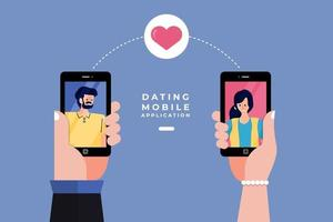 online dating app på mobiltelefon vektor