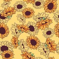 gelbes nahtloses Muster mit Sonnenblumenzeichnungen und -skizzen. repetitiver Hintergrund mit sommerlichen floralen und botanischen Elementen. Tapete mit Wildblumen vektor