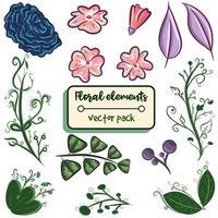 Elementpaket mit floralen Objekten. Vektorsatz mit isolierten Blumen, Blättern und Zweigen. rosa und grüne Kräuter und Pflanzen für Frühlings- und Sommerveranstaltungen vektor