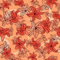 nahtloses Frühlingsmuster mit floralen Elementen und Skizzen. repetitiver Sommerhintergrund mit orangefarbenen Lilien und Tulpen. natürliche und botanische Textur mit gelben Blüten. vektor