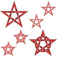 Vektordesign von ineinander verschlungenen Pentagrammsternen vektor