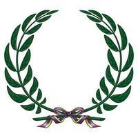 Vektordesign des Olivenkranzes gebunden mit einem Band in den Farben der venezolanischen Flagge.