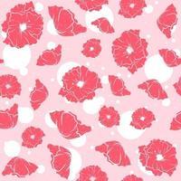 rosa nahtloses Muster mit Schlafmohn. sich wiederholender Blumenhintergrund mit Sommerblumen. Vektorgrafiken mit Blütenblättern und Kräutern. vektor