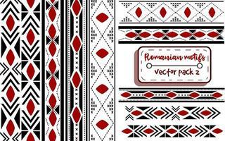 Rumänische traditionelle Stickerei mit moldauischen Motiven. nahtlose Muster und Ränder mit nationalen gestrickten balkanischen Elementen. ukrainische und osteuropäische Kreuzstichbänder. vektor