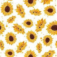 gelbes nahtloses Muster mit tropischen Sommerblumen. Blumenwiederholungshintergrund mit Frühlingsblumenelementen. Vektortapete mit Sonnenblumen- und Gänseblümchenpflanzen in der Blüte. vektor