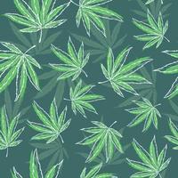 grünes nahtloses Muster mit medizinischen Kräutern. sich wiederholender Hintergrund mit Marihuana- und Cannabisblättern. natürliche Illustration von Hanf. vektor