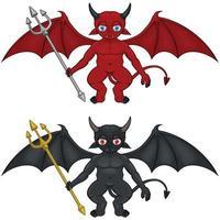 Vektordesign zwei kleine Teufel mit verschiedenen Farben mit Dreizack und Dämonenflügeln. vektor