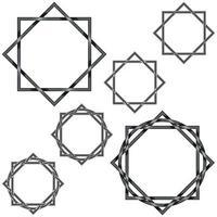 Vektordesign von ineinander verschlungenen achteckigen Sternen