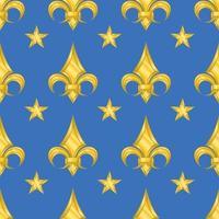 geometrisches Mustervektorentwurf mit Lilienblumen und Sternenmetallic-Goldfarbstil. vektor