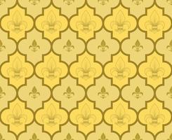 Vektordesign des geometrischen Musters mit Lilienblumen, Symbol, das in der mittelalterlichen Heraldik verwendet wird. vektor