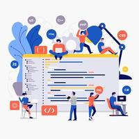 team av utvecklare som arbetar med kod