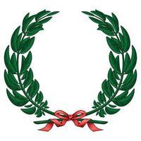 Illustration des Olivenkranzes gebunden mit rotem Band