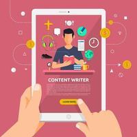 Verwenden eines Tablets, um mehr über das Schreiben von Inhalten zu erfahren vektor