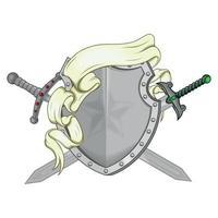 Vektordesign des Wappens mit Band und Schwert vektor