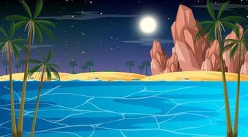 tropisk strandlandskapsscen på natten vektor
