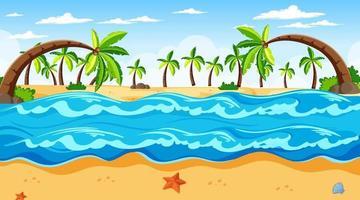 tropisk strandlandskapsscen med många palmer på dagtid vektor
