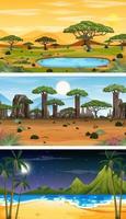 uppsättning av olika skogshorisontella scener i olika tider