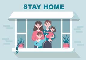Bleiben Sie zu Hause, um Quarantäne oder Selbstisolierung zu erhalten, um das Infektionsrisiko zu verringern und das Coronavirus zu verhindern. Vektorillustration vektor