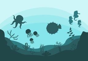 Unterwasserlandschaft und niedliches Tierleben im Meer mit Seepferdchen, Seesternen, Tintenfischen, Schildkröten, Haien, Fischen, Quallen, Krabben. Vektorillustration vektor
