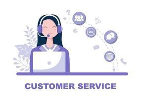 Kontaktieren Sie uns beim Kundendienst für persönlichen Assistentenservice, Personenberater und Social-Media-Netzwerk. Vektorillustration vektor