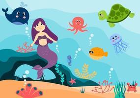 Unterwasser Meerjungfrau Vektor-Illustration niedlichen Meerestiere Cartoon-Zeichen zusammen mit Fisch, Schildkröte, Tintenfisch, Seepferdchen, Krabben vektor