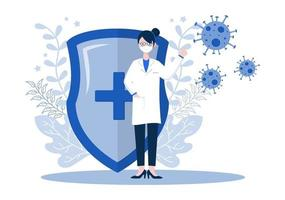 Vektor-Illustration medizinische Menschen des Gesundheitswesens, die das Koronavirus schützen und gegen es kämpfen vektor