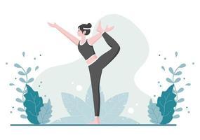 Yoga oder Meditationspraktiken zielen auf die gesundheitlichen Vorteile des Körpers ab, um Gedanken, Emotionen, den Beginn und die Suche nach Ideen zu kontrollieren. flache Designvektorillustration vektor