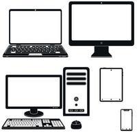 vektordesign av silhuetten av bärbar dator, dator, surfplatta och smartphone vektor