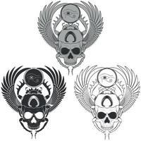 Vektordesign des beängstigenden geflügelten Skarabäus mit Schädel, des alten ägyptischen Skarabäus mit dem Auge des Horus, Skarabäusschattenbild mit Graustufenschädel vektor