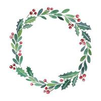 jul krans akvarell färg ram vektor