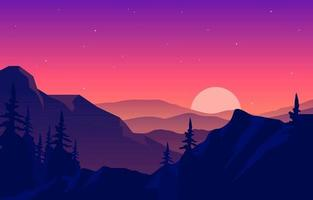 friedliche Bergpanoramalandschaft in der monochromatischen flachen Illustration vektor
