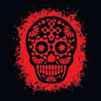 Heiliger Tod, Tag der Toten, mexikanischer Zuckerschädel, Grunge-Vintage-Design-T-Shirts vektor