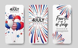 Social Media Template Geschichten für den 4. Juli amerikanischen Unabhängigkeitstag vektor
