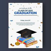 2021 klassavläggande av examen med 3d-examen cap illustration