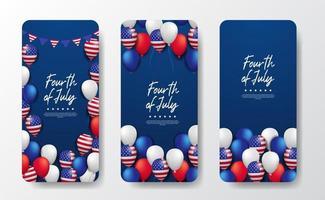 Social Media Template Geschichten für den 4. Juli amerikanischen Unabhängigkeitstag mit 3d Ballon Party vektor