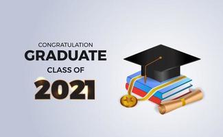 Herzlichen Glückwunsch Abschlussklasse von 2021 mit isometrischem 3D-Buch und Abschlusskappenhut und Medaille vektor