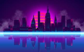 Sonnenuntergang Stadt Wolkenkratzer für Vintage Retro 80er Jahre Neon Farbe Hintergrund vektor