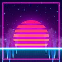 Retro Vintage 80er Gradienten Neon Farbhintergrund vektor