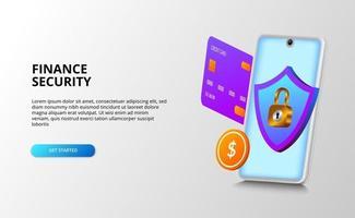 modernt ekonomiskt säkerhetskoncept med 3d illustration av smartphone med kreditkort, mynt, sköld och hänglås.