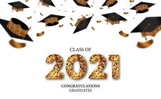 Abschluss 2021 mit goldenem Glitzer und Abschlusskappe vektor