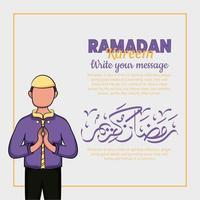 handritad illustration av ramadan kareem eller eid al fitr dagar hälsning koncept vektor