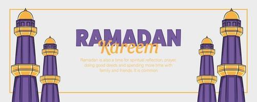 ramadan kareem banner med handritad islamisk illustration prydnad vektor