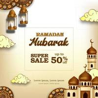 Ramadan Mubarak Verkauf bieten Banner Luxus elegant mit Moschee und Laterne Mandala Dekoration vektor