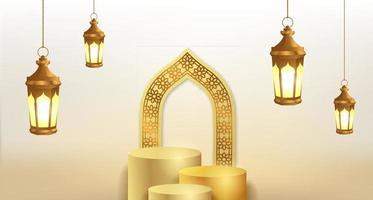 ramadan islamisk händelse med gyllene lyktor och mall för visning av cylinderpodprodukt