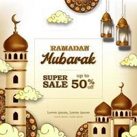 ramadan mubarak försäljning erbjuda banner lyx elegant med moské och lykta dekoration