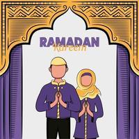 handritad illustration av ramadan kareem eller eid al fitr dagar hälsning