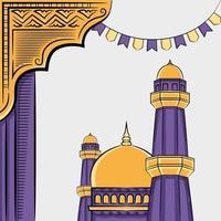 Hand gezeichnete Illustration von Ramadan Kareem oder Eid al Fitr Tage Grußkonzept auf weißem Hintergrund. vektor