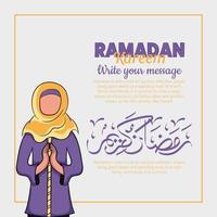 Hand gezeichnete Illustration von Ramadan Kareem oder Eid al Fitr Tage Gruß vektor