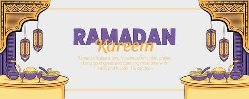 ramadan kareem banner med handritad islamisk illustration vektor