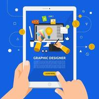 Verwenden eines Tablets, um mehr über Grafikdesign zu erfahren vektor